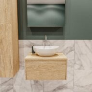 Badkamermeubel BWS Madrid Washed Oak 60 cm met Massief Topblad en Keramische Waskom (1 kraangat)