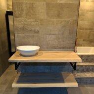 Badkamermeubel BWS Woodstone Twee Bovenbladen met Boomstamkant 100 cm (met beugels en waskom)