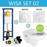 Wisa XS Toiletset set02 B&W Compact 47.5 cm met Argos of Delos drukplaat