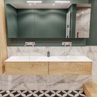 Badkamermeubel BWS Madrid Washed Oak 180x45x30 cm Mat Witte Solid Surface Wastafel Dubbel (2 lades, 0 kraangaten)
