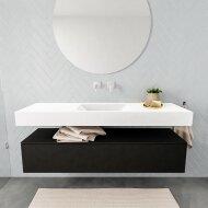 Badkamermeubel BWS Ibiza 150 cm Solid Surface Mat Zwart Wastafel Mat Wit (acht varianten)