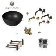Salenzi Waskomset Unica Round 40x20 cm Mat Zwart (Keuze uit 4 Kleuren Kranen)