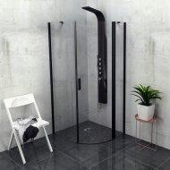Douchecabine Sapho Zoom Line Black Kwartrond Draaideur 90x90 cm 6 mm Gecoat Glas Mat Zwart Links