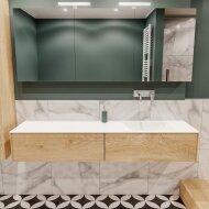 Badkamermeubel BWS Madrid Washed Oak 180x45x30 cm Mat Witte Solid Surface Wastafel Rechts (2 lades, 0 kraangaten)