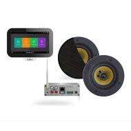 Music Center Aquasound N-Joy Controller (IPX7) + Wand Lader + Samba 4065 Speakerset + Wifi-Audio Versterker 50 Watt Zwart