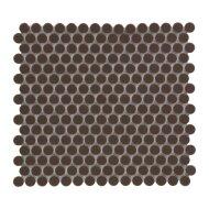 Mozaïek Venice Pennyround 31.5x29.4 cm Geglazuurd Porselein, Rond Glanzend Bruin (Prijs Per 0.93 m2)