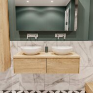 Badkamermeubel BWS Madrid Washed Oak 120 cm met Massief Topblad en Keramische Waskom Dubbel (2 lades, 0 kraangaten)