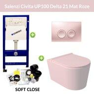 Geberit UP100 Toiletset Wandcloset Salenzi Civita Mat Roze met Delta 21 Drukplaat