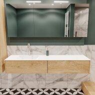 Badkamermeubel BWS Madrid Washed Oak 180x45x30 cm Mat Witte Solid Surface Wastafel Links (2 lades, 1 kraangat)