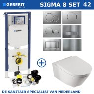 Geberit Sigma 8 (UP720) Toiletset set42 Boss & Wessing Metro 56cm Met Sigma Drukplaat