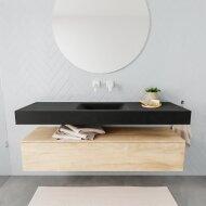 Badkamermeubel BWS Ibiza 150 cm Washed Oak Solid Surface Wastafel Mat Zwart (acht varianten)