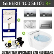 Geberit UP100 Toiletset set01 Boss & Wessing Design Randloos met Delta drukplaat
