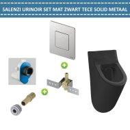 Urinoir Set Salenzi Hung Achterinlaat Mat Zwart met TECE Solid Drukplaat Metaal