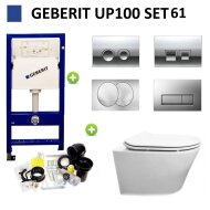 Geberit UP100 Toiletset Design Randloos Modo Set 61 met Delta Drukplaat