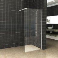 BWS Inloopdouche Pro Line Helder Glas 140x200 Mat Wit Profiel en Stabilisatiestang