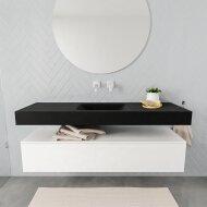Badkamermeubel BWS Ibiza 150 cm Mat Wit Solid Surface Wastafel Mat Zwart (acht varianten)