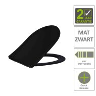 BWS Toiletzitting Vera Shade Fit Met Deksel Met Soft Close Mat Zwart