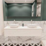 Badkamermeubel BWS Madrid Wit 150 cm met Massief Topblad en Keramische Waskom Dubbel (2 kraangaten)