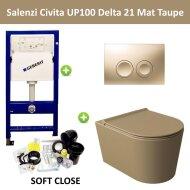 Geberit UP100 Toiletset Wandcloset Salenzi Civita Mat Taupe met Delta 21 Drukplaat