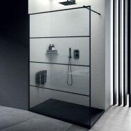 Inloopdouche Lacus Tremiti Wall 100x200 cm Helder Glas Stabilisatiestang Zwart