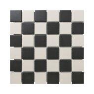 Mozaïek London 30.9x30.9cm Onverglaasd Porselein, Mat Antislip En Wit En Zwart Dambord (Prijs Per 0.95 m2)