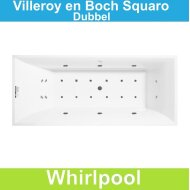 Ligbad Villeroy & Boch Squaro 170x75 cm Balboa Whirlpool systeem Dubbel | Tegeldepot.nl