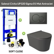 Geberit UP320 Toiletset Wandcloset Salenzi Civita Mat Antraciet met Sigma 01 Drukplaat
