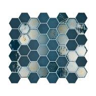 Mozaïek Valencia 27.8x32.5 cm Recycled Glas, Hexagon Mat En Glanzend Blauw (Prijs Per 1.00 m2)