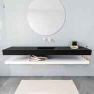 Badkamermeubel BWS Ibiza 200 cm met Mat Wit Planchet Solid Surface Wastafel Mat Zwart (acht varianten)