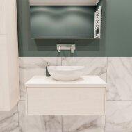 Badkamermeubel BWS Madrid Wit 80 cm met Massief Topblad en Keramische Waskom (0 kraangaten)