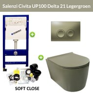 Geberit UP100 Toiletset Wandcloset Salenzi Civita Mat Legergroen met Delta 21 Drukplaat