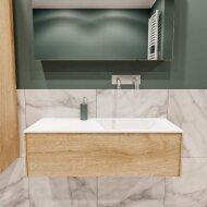 Badkamermeubel BWS Madrid Washed Oak 100x45x30 cm Mat Witte Solid Surface Wastafel Rechts (0 kraangaten)