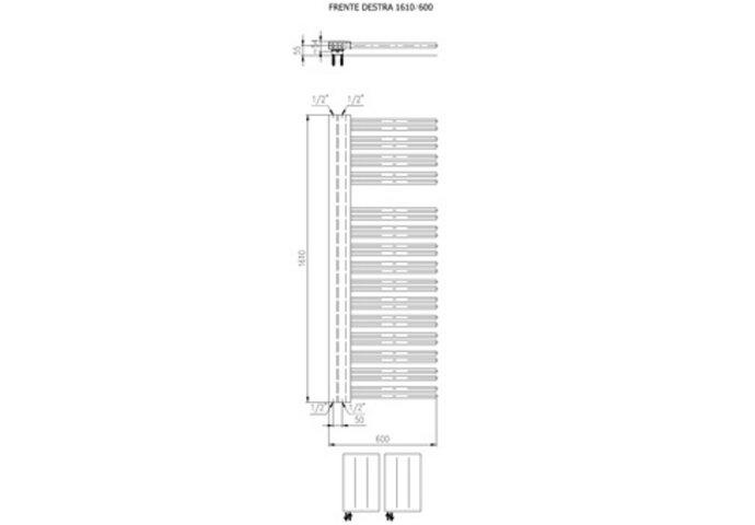 Designradiator Boss & Wessing Franto Dastro 161 x 60 cm 933 Watt Buis Rechts Zwart