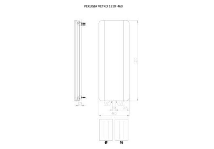 Designradiator Plieger Perugia Vetro 482 Watt Middenaansluiting 121x46 cm Wit