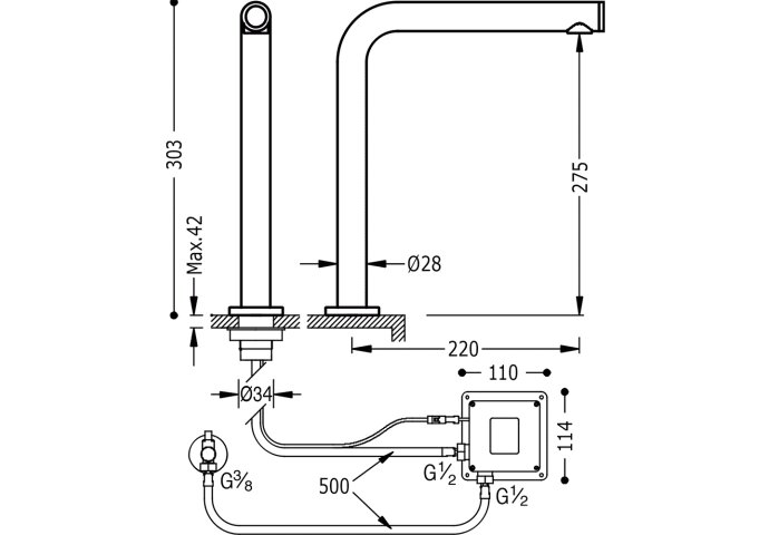 Elektronische kraan TOUCH-TRES 303mm met 1 wateruitgang (Keukenkraan)