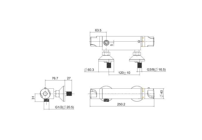 Thermostaatkraan Universal douchekraan 15cm (Douchekranen opbouw)