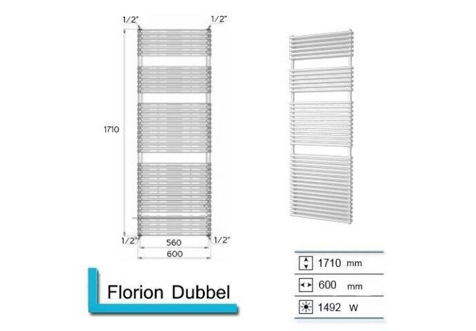 Handdoekradiator Florion Dubbel 1710 x 600 mm Donker grijs structuur