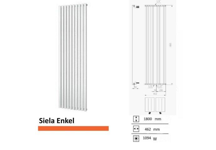 Handdoekradiator Boss & Wessing Siela Enkel 1800 x 462 mm | Tegeldepot.nl