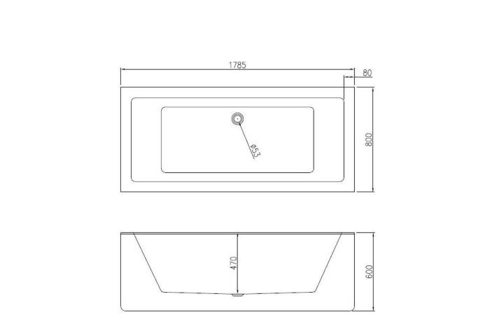 Vrijstaand Ligbad Best Design Strack 178x80x60 cm Wit