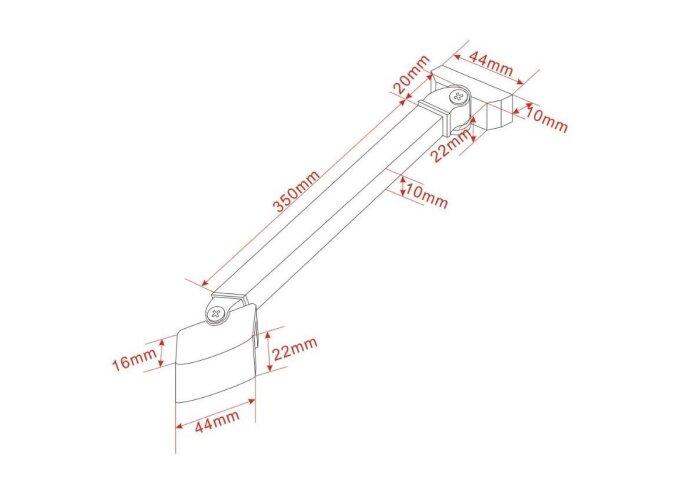Stabilisatiestang 45 graden compleet, omkeerbaar 40cm