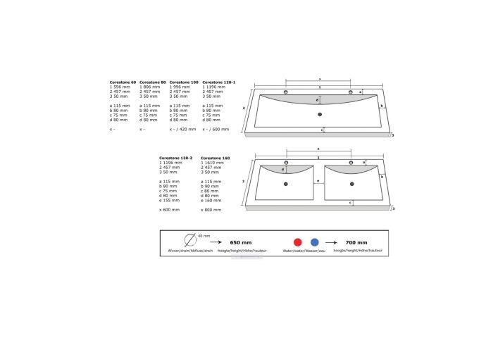 Wastafelblad Exclusive Line 100 CoreStone No.13 Natuursteen 2 kraangaten