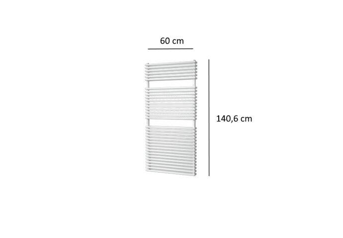Designradiator Plieger Florian Dubbel 1153 Watt Vier Aansluitpunten 140,6x60 cm Wit