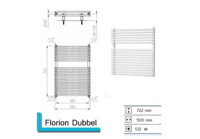 Handdoekradiator Florion Dubbel 722 x 500 mm Donker grijs structuur