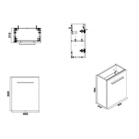 Fonteinkast Vision met Mineraalmarmer Fontein 40cm Hoogglans Grijs