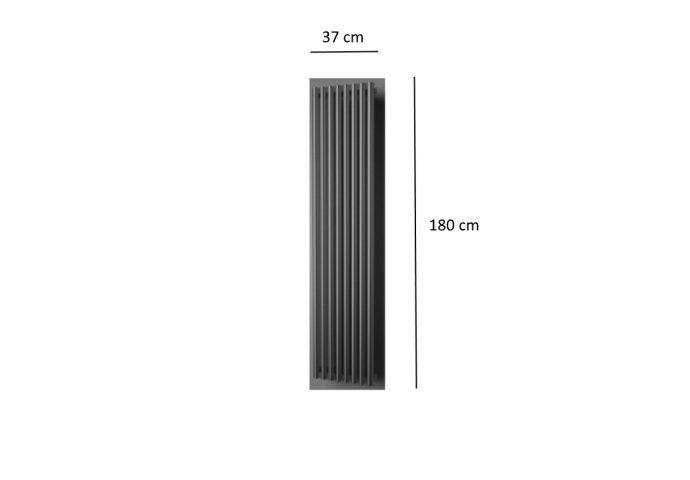 Designradiator Plieger Inox Melody 861 Watt Ronde Buizen 180x37 cm Inox-Look