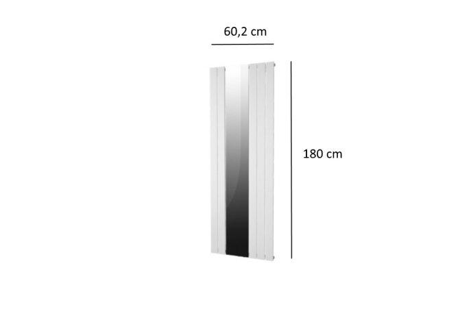 Designradiator Plieger Cavallino Retto Specchio 773 Watt Middenaansluiting 180x60,2 cm Wit