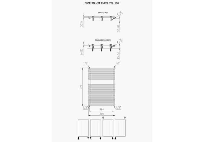 Designradiator Florion Nxt 391 Watt 72,2x50 cm Wit