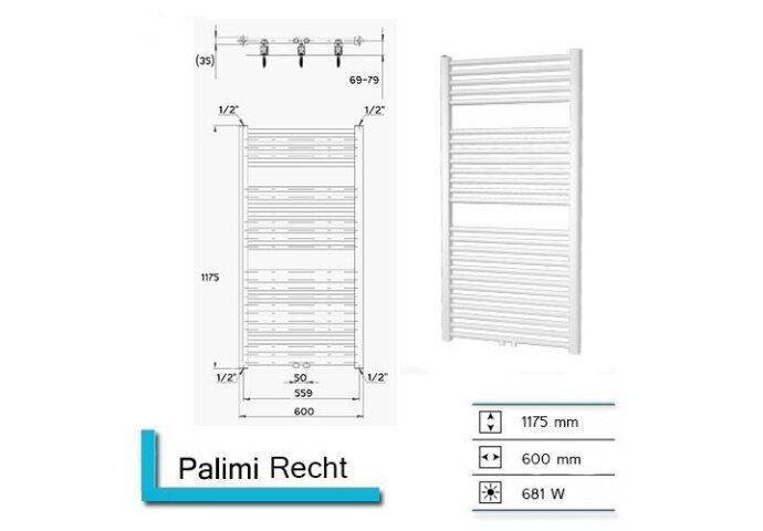 Handdoekradiator Palimi Recht 1175 x 600 mm Donker grijs tructuur