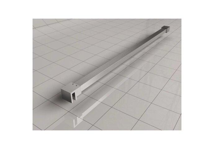 BWS Vrijstaande Inloopdouche Pro Line Helder Glas met Twee Stabilisatiestangen RVS Geborsteld