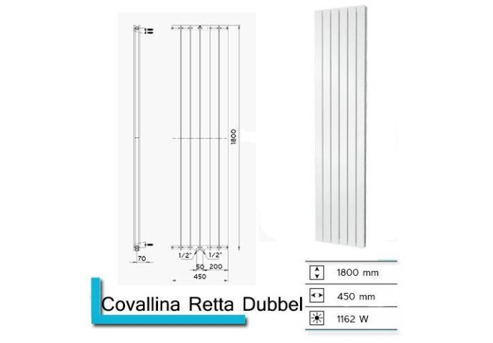 Designradiator Plieger Cavallino Retto Dubbel 1162 Watt Middenaansluiting 180x45 cm Antraciet Metallic